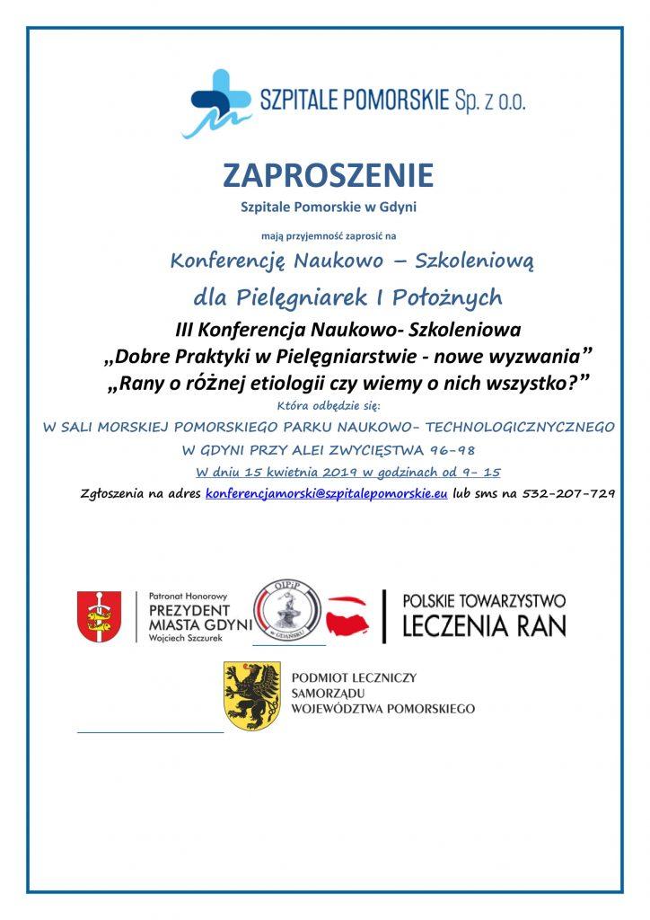 Zaproszenie na konferencję naukowo – szkoleniową dla pielęgniarek i położnych